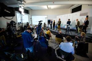 Journalister samlade på Folkhälsomyndighetens pressträff.