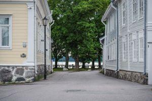 Katunäkymä, reunustoilla vanhat puutalot, kadun päässä lehtipuita ja ranta