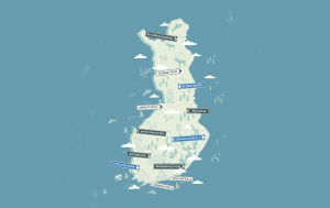 Piirretty kartta Suomesta.