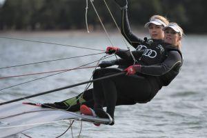 Noora Ruskola och Mikaela Wulff seglar.