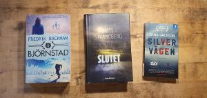 Böckerna Björnstad av Fredrik Backman, Slutet av Mats Strandberg och Silvervägen av Stina Jackson