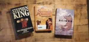 Böckerna Den förskräckliga apan av Stephen King (novellsamling), Sagan om Belgarion, en bokserie av David Eddings, Heiman av Ann-Luise Bertell