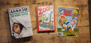 Böckerna Zoo-serien av Ted Forsström och Kaj Korkea-aho, Den nionde graven av Ahnhem och en Kalle Anka-serietidning