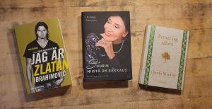 Böckerna Jag är Zlatan av David Lagercrantz,  Suurin niistä on rakkaus av Kirsti Paakkanen och Ett vet jag säkert av Oprah Winfrey