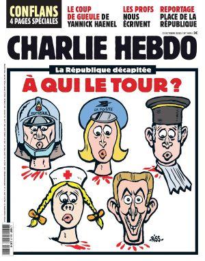 """""""Den halshuggna republiken. Vem står näst i tur?"""" Tidskriften Charlie Hebdo publicerade 20.10.2020 en karikatyr efter att en lärare halshuggits efter att i skolan ha visat karikatyrer av profeten Muhammed"""
