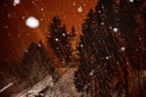 Talvinen kuva Imatran valtionhotellista.