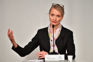 Karin Tegmark Wisell vid podiet på en pressträff.
