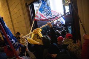 Demonstranter med flaggor.