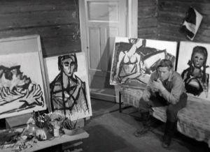 Kalervo Koski ja Ahti Lavosen taidetta elokuvassa Jäinen saari (1964).
