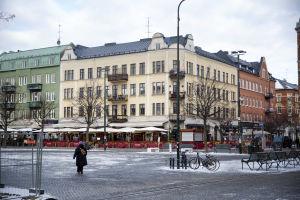 Stadsbild i Malmö, Möllevångstorget är tomt.