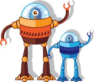 Illustration av organiska robotar.