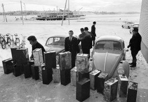 Laivoista takavarikoituja pirtutonkkia 1967.