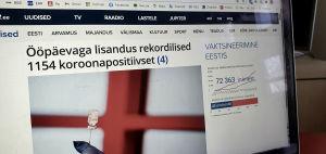 En artikel om coronaepidemin som är som en kopia av ett pressmeddelande på det estniska rundradiobolagets ERRs webbplats.