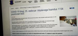 Den estniska hälsovårdsmyndighetens pressmeddelande på myndighetens webbplats. 1154 nya fall av coronasmitta det senaste dygnet, står det.