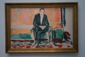 """""""Man med bronkit"""". Edward Munchs självporträff från 1918."""