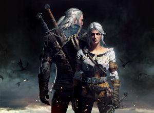 The Witcher 3, kaksi pitkätukkaista pelihahmoa seisovat vastatusten.