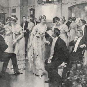 Kvinnor bjuder män upp till dans på en skottårsbal i England år 1912.