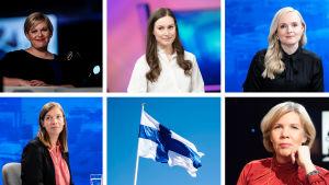Collage av sex bilder. I bilderna syns Annika Saarikko, Sanna Marin, Maria Ohisalo, Li Andersson, Anna-Maja Henriksson och Finlands flagga.
