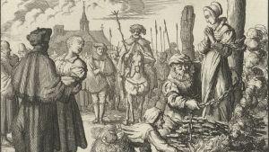 Systrarna Maria och Ursula van Beckum bränns på bål 1544. Jan Luyken, 1685.