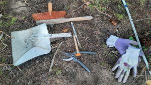 Olika arkeologiska verktyg på marken: En borste, en tandborste, en sekatör, en sopskyffel och ett par handskar.