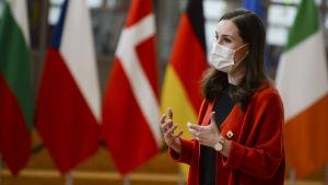 Sanna Marin framför EU-ländernas flaggor.