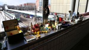 Loppmarknad på Malms järnvägsstation.