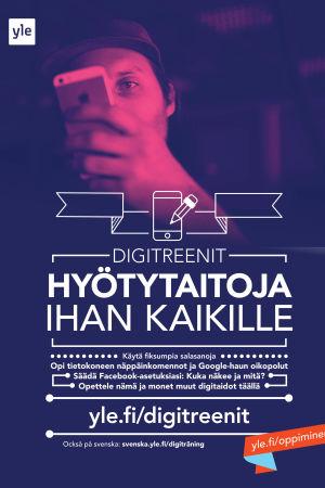 Digitreenien julisteessa mies kännykän takana ja teksti Digitaitoja ihan kaikille