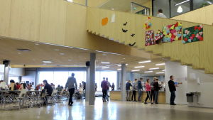 Elver i stor skolmatsal