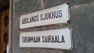 Åbolands sjukhus -skylt.