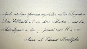 Inbjudan till bröllop 1918.