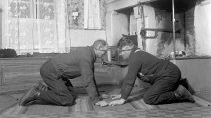 """Två män leker leken """"Dra pissmyra"""". Bilden är tagen i Korsnäs, Harrström 1937."""
