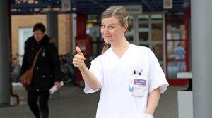 Sjukskötaren Jatta Kokkonen vid Universitetssjukhuset i Tromsö.