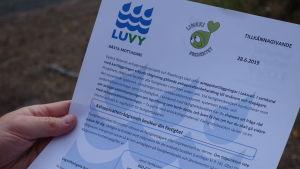 Brevet som fastighetsägare får om rådgivning gällande avloppsvattensystemen.
