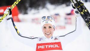Charlotte Kalla jublar, Planica 2018.
