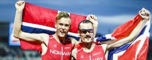 Filip och Henrik Ingebrigtsen firar EM-medaljer 2016.