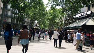 Turiststråket La Rambla i Barcelona