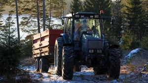 Granar som odlas i skogen transporteras på ett traktorsläp.