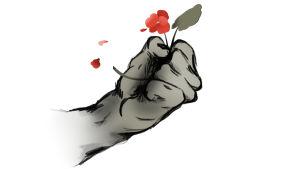 Kuvitus nyrkkiin puristetusta kukasta