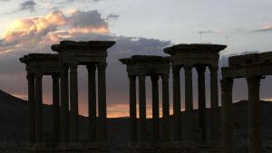 Tetrapylonen i Palmyra innan den sprängdes av Islamiska staten.