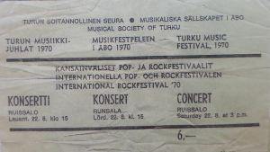 Festivalens inträdesbiljett 1970.