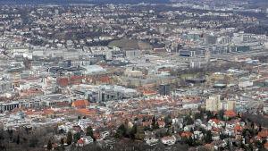 En bild på staden Stuttgart i Tyskland tagen uppifrån.