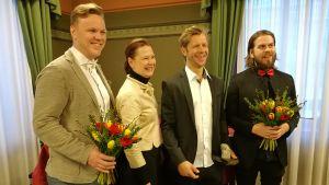 Från vänster: Osku Valtonen, Minna Arve, Tomi Kallio och Juhani Koskinen.