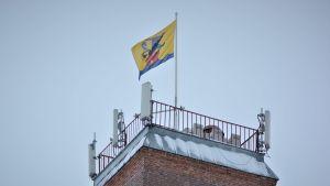 Flagga med Jakobstads stadsvapen vajar i toppen av ett torn.