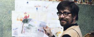 Pikku Kakkosen postin juontaja Lauri Ruippo esittelee lasten piirustuksia vuonna 1978 Tampereella.