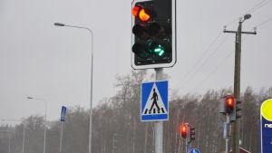 Ett trafikljus som visar en grön pil och en röd lampa.
