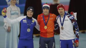 EM-medaljörerna Mika Poutala, Ronald Mulder och Pavel Kulizhnikov.