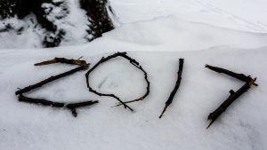 2017 skrivet med kvistar på snön.