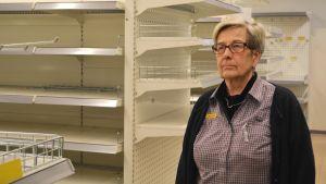 Benita Liman sista dagen på jobb 27.10.17 i K-marketbutiken i Hindhår, borgå