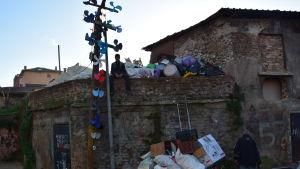 Pojke sitter på mur