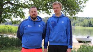 Pargas roddklubbs träningsansvarige Joacim Blomster och junioransvarige John Kronström.